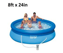 Intex | 28107EH | 8ft x 24in, Inflatable Above Ground Swimming Pool with Filter